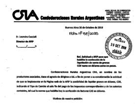 Cuáles son los fundamentos a partir de los cuales CRA solicitó a la Afip la posibilidad de dolarizar las liquidaciones de granos