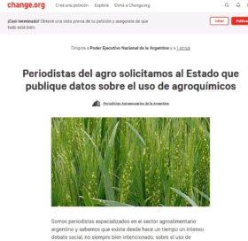 Periodistas agropecuarios argentinos solicitaron al Estado nacional que publique datos sobre el uso de agroquímicos