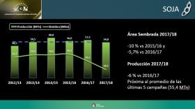 La producción de soja argentina en la presente campaña sería la más baja desde 2012/13